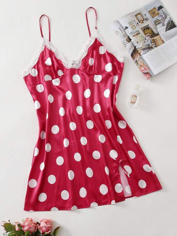Plus Lace Panel Polka Dot Satin Cami Night Dress - INS | Online Fashion Free Shipping Clothing, Dresses, Tops, Shoes