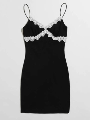 Plus Lace Trim Bodycon Dress - INS | Online Fashion Free Shipping Clothing, Dresses, Tops, Shoes