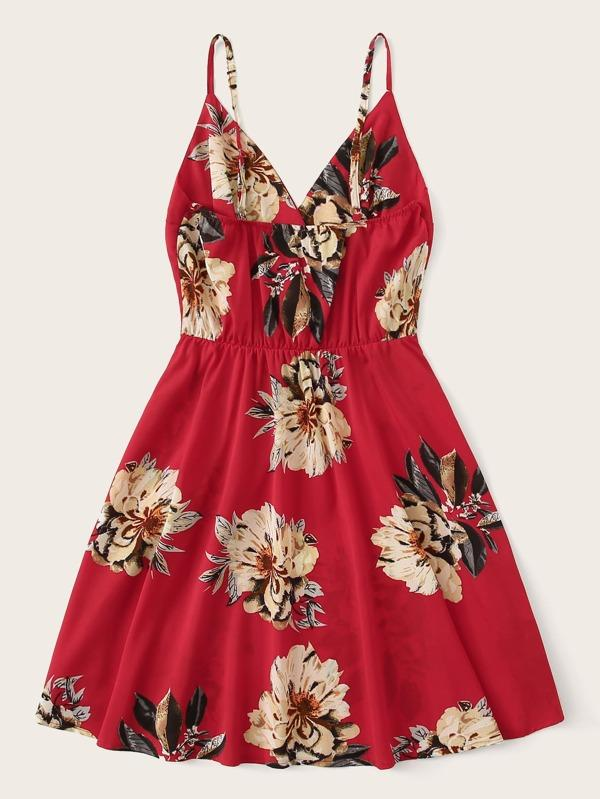 Plus Large Floral Print Cami Dress - INS | Online Fashion Free Shipping Clothing, Dresses, Tops, Shoes