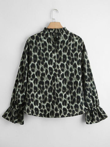 Plus Leopard Print Frill Neck Blouse - INS | Online Fashion Free Shipping Clothing, Dresses, Tops, Shoes
