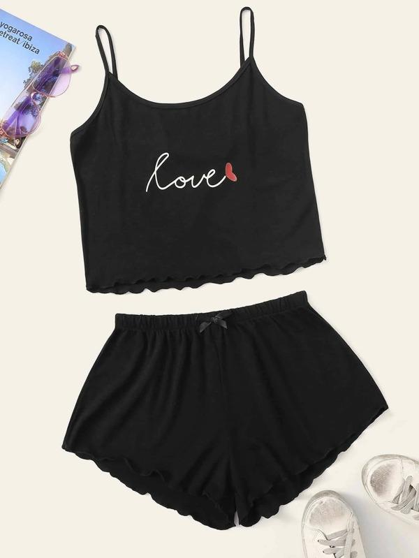 Plus Letter Graphic Lettuce Trim PJ Set - INS | Online Fashion Free Shipping Clothing, Dresses, Tops, Shoes