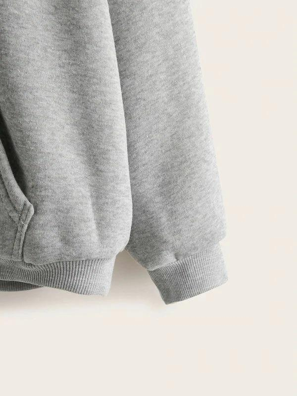 Plus Letter Print Kangaroo Pocket Hoodie - INS | Online Fashion Free Shipping Clothing, Dresses, Tops, Shoes