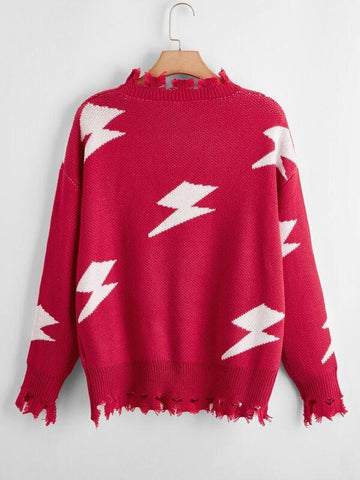 Plus Lighting Pattern Distressed Sweater - INS | Online Fashion Free Shipping Clothing, Dresses, Tops, Shoes