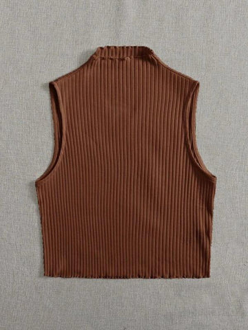 Plus Mock-neck Rib-knit Tank Top - INS | Online Fashion Free Shipping Clothing, Dresses, Tops, Shoes