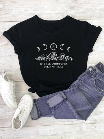 Plus Moon & Slogan Graphic Tee - INS | Online Fashion Free Shipping Clothing, Dresses, Tops, Shoes