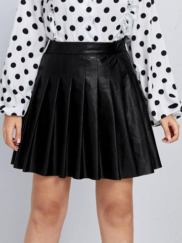 Plus PU Leather Pleated Skirt - INS | Online Fashion Free Shipping Clothing, Dresses, Tops, Shoes