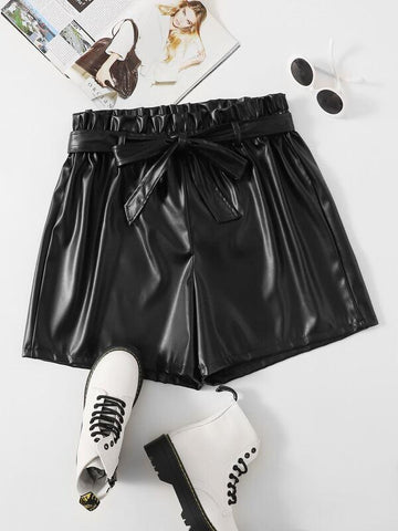 Plus PU Self Belted Shorts - INS | Online Fashion Free Shipping Clothing, Dresses, Tops, Shoes
