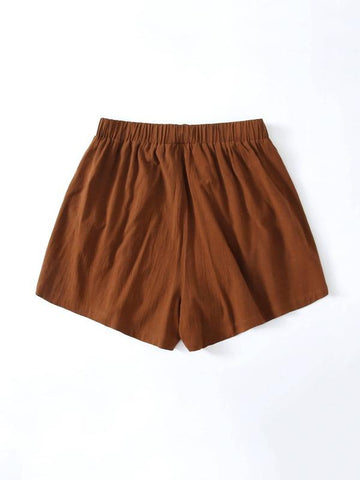 Plus Slant Pocket Solid Shorts - INS | Online Fashion Free Shipping Clothing, Dresses, Tops, Shoes