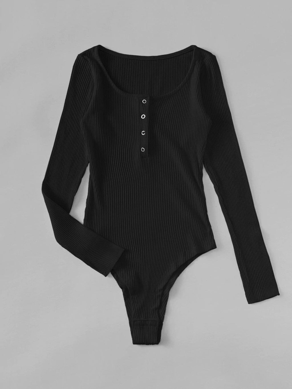Plus Snap Front Rib-knit Bodysuit - INS | Online Fashion Free Shipping Clothing, Dresses, Tops, Shoes