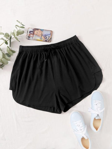 Plus Solid Drawstring Waist Track Shorts - INS | Online Fashion Free Shipping Clothing, Dresses, Tops, Shoes
