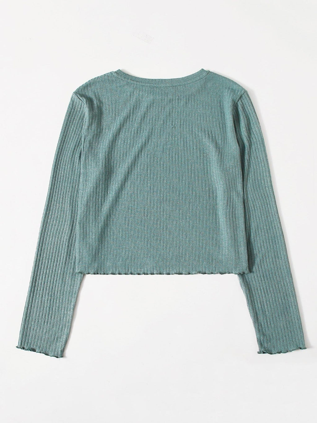 Plus Solid Lettuce Trim Rib-knit Top - INS | Online Fashion Free Shipping Clothing, Dresses, Tops, Shoes