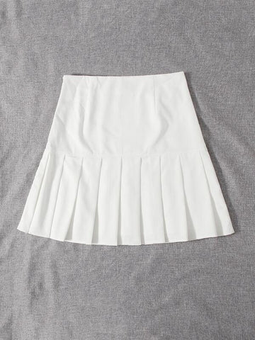 Plus Solid Pleated Hem Skirt - INS | Online Fashion Free Shipping Clothing, Dresses, Tops, Shoes