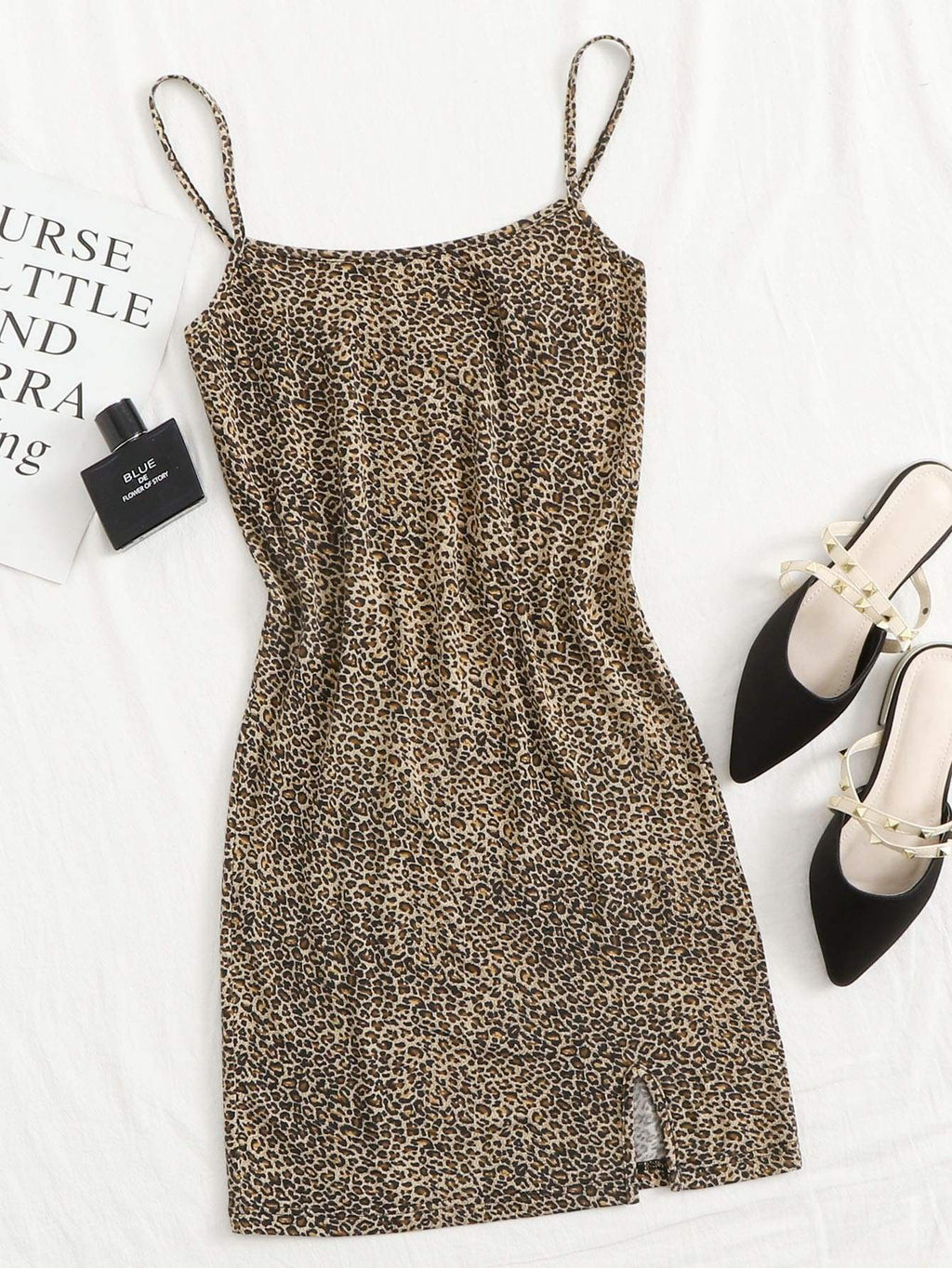 Plus Split Hem Leopard Print Bodycon Dress - INS | Online Fashion Free Shipping Clothing, Dresses, Tops, Shoes