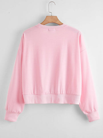 Plus Strawberry & Letter Graphic Sweatshirt - INS | Online Fashion Free Shipping Clothing, Dresses, Tops, Shoes
