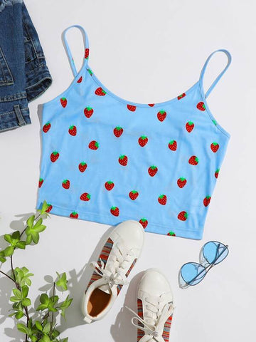 Plus Strawberry Print Cami Top - INS | Online Fashion Free Shipping Clothing, Dresses, Tops, Shoes