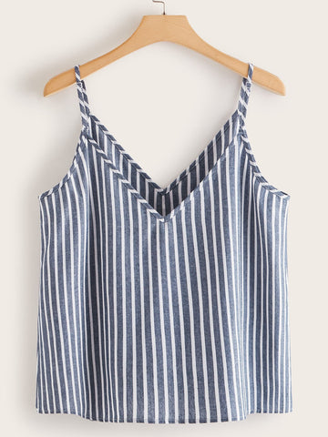 Plus Striped Button Front Cami Top - INS | Online Fashion Free Shipping Clothing, Dresses, Tops, Shoes