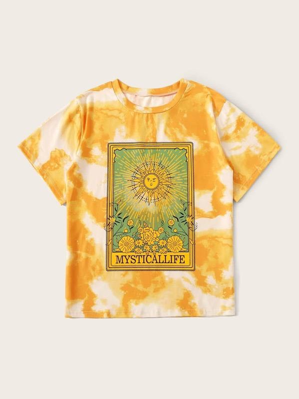 Plus Sun Print Tie Dye Tee - INS | Online Fashion Free Shipping Clothing, Dresses, Tops, Shoes