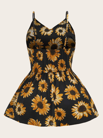 Plus Sunflower Print Ruffle Hem Cami Top - INS | Online Fashion Free Shipping Clothing, Dresses, Tops, Shoes
