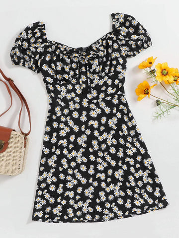 Plus Tie Front Daisy Floral Milkmaid Dress - INS | Online Fashion Free Shipping Clothing, Dresses, Tops, Shoes