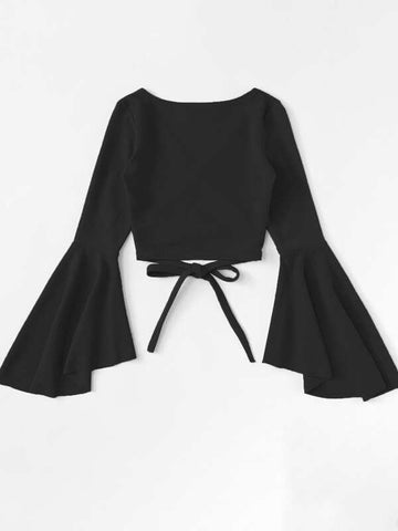 Plus Tie Front Flounce Sleeve Wrap Blouse - INS | Online Fashion Free Shipping Clothing, Dresses, Tops, Shoes