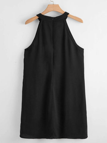 Plus Tie Front Halter Dress - INS | Online Fashion Free Shipping Clothing, Dresses, Tops, Shoes