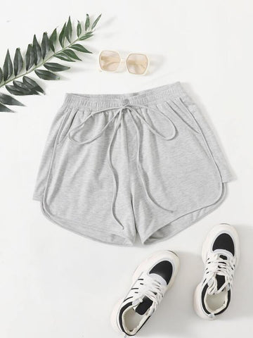 Plus Tie Front Solid Dolphin Shorts - INS | Online Fashion Free Shipping Clothing, Dresses, Tops, Shoes