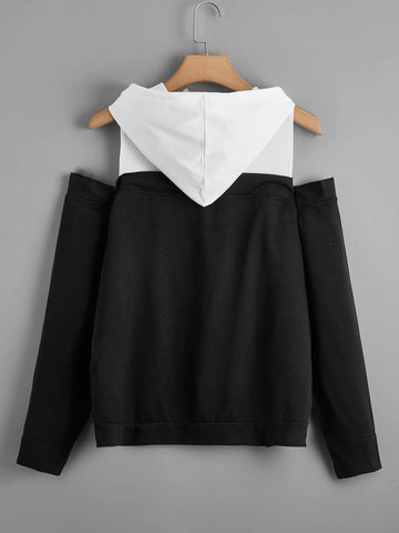 Plus Two Tone Cold Shoulder Hoodie - INS | Online Fashion Free Shipping Clothing, Dresses, Tops, Shoes