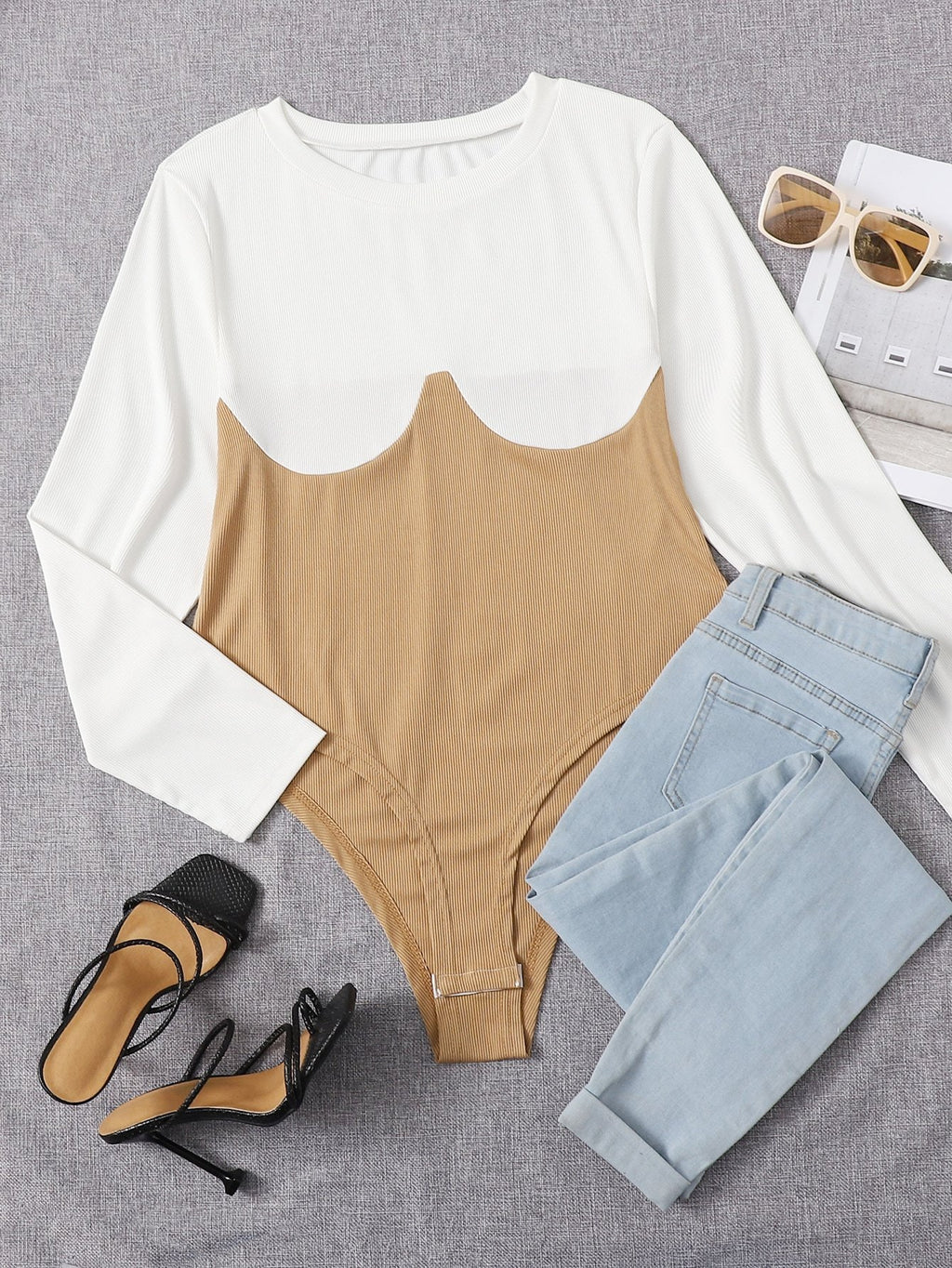 Plus Two Tone Round Neck Tee Bodysuit - INS | Online Fashion Free Shipping Clothing, Dresses, Tops, Shoes