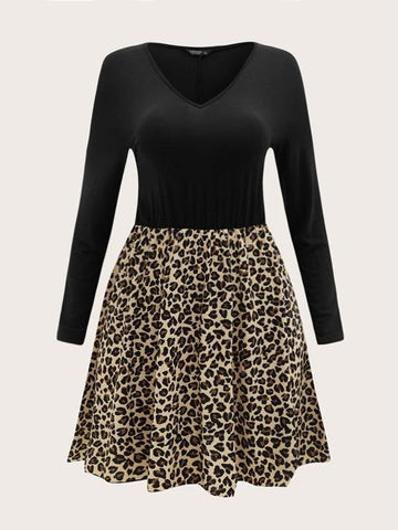 Plus V-neck Leopard Panel Dress - INS | Online Fashion Free Shipping Clothing, Dresses, Tops, Shoes
