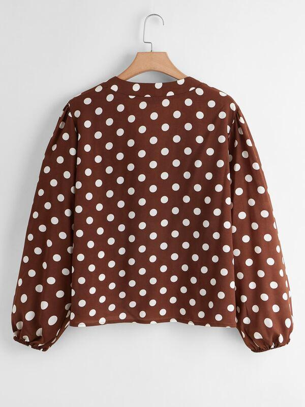Plus V-neck Polka Dot Blouse - INS | Online Fashion Free Shipping Clothing, Dresses, Tops, Shoes