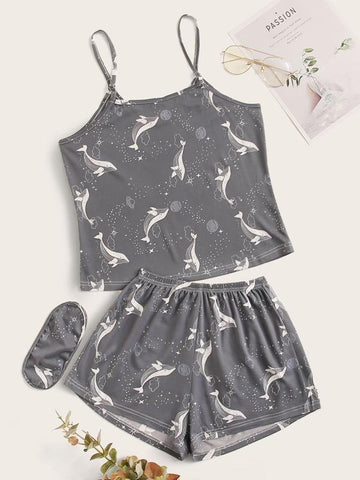 Plus Whale And Galaxy Cami PJ Set & Eye Cover - INS | Online Fashion Free Shipping Clothing, Dresses, Tops, Shoes