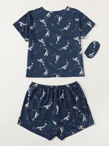 Plus Whale And Galaxy Print Pajama Set With Eye Cover - INS | Online Fashion Free Shipping Clothing, Dresses, Tops, Shoes