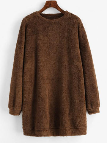 Plush Faux Fur Sweatshirt Dress - INS | Online Fashion Free Shipping Clothing, Dresses, Tops, Shoes