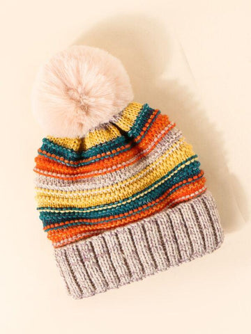 Pom-pom Decor Colorblock Beanie - INS | Online Fashion Free Shipping Clothing, Dresses, Tops, Shoes