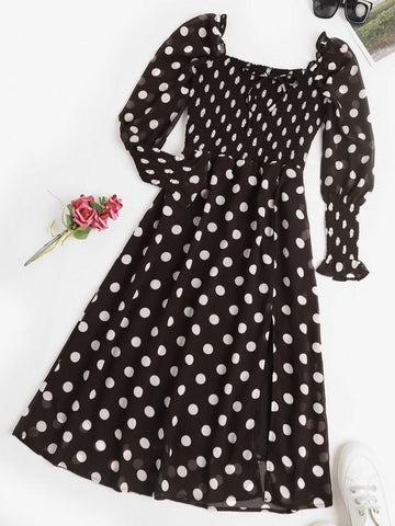 Puff Sleeve Polka Dot Smocked Milkmaid Dress - INS | Online Fashion Free Shipping Clothing, Dresses, Tops, Shoes