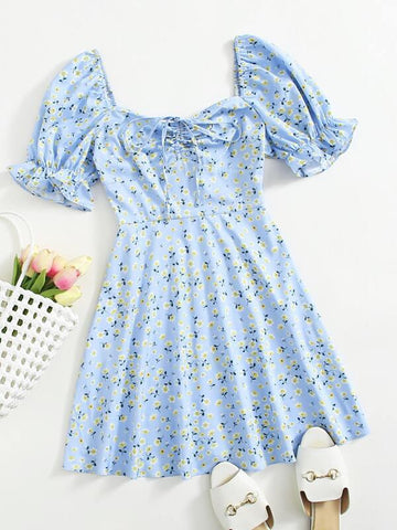 Puff Sleeve Ruched Front Ditsy Floral Dress - INS | Online Fashion Free Shipping Clothing, Dresses, Tops, Shoes