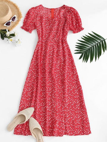 Puff Sleeve Ruched Slit Ditsy Floral Dress - INS | Online Fashion Free Shipping Clothing, Dresses, Tops, Shoes