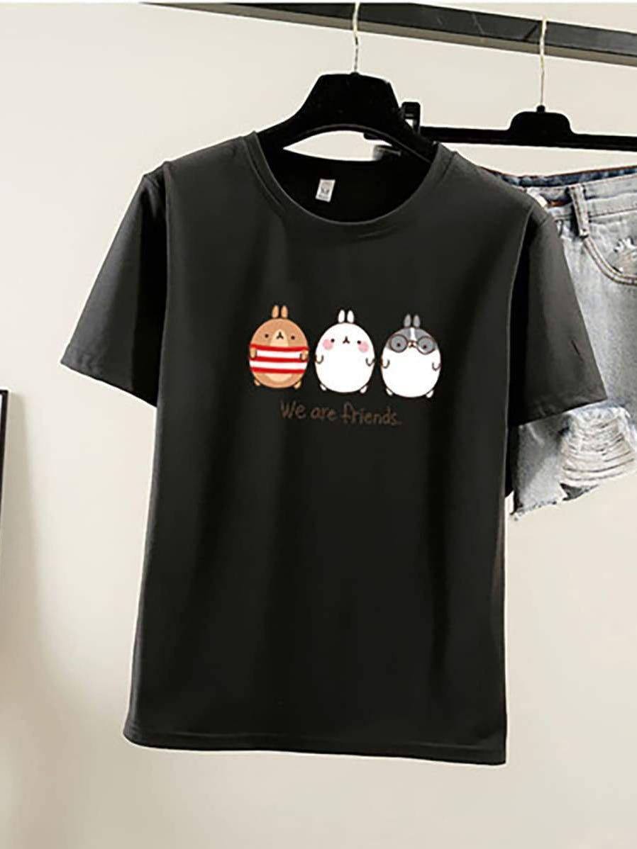 Pure Color Cartoon Print Loose T-Shirt - INS | Online Fashion Free Shipping Clothing, Dresses, Tops, Shoes