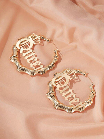 Queen Charm Bamboo Hoop Earrings - INS | Online Fashion Free Shipping Clothing, Dresses, Tops, Shoes