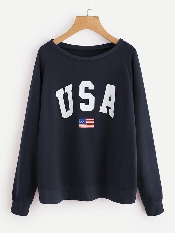 Raglan Sleeve Letter & American Flag Print Sweatshirt - INS | Online Fashion Free Shipping Clothing, Dresses, Tops, Shoes