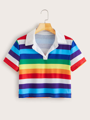 Rainbow Striped Collared Cropped Tee - INS | Online Fashion Free Shipping Clothing, Dresses, Tops, Shoes