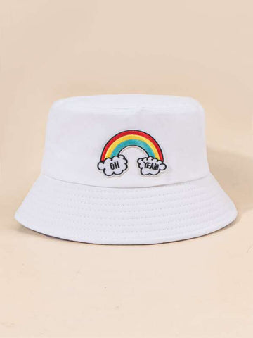 Rainbow Striped Embroidery Bucket Hat - INS | Online Fashion Free Shipping Clothing, Dresses, Tops, Shoes