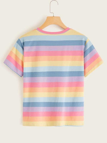 Rainbow Striped Short Sleeve Tee - INS | Online Fashion Free Shipping Clothing, Dresses, Tops, Shoes