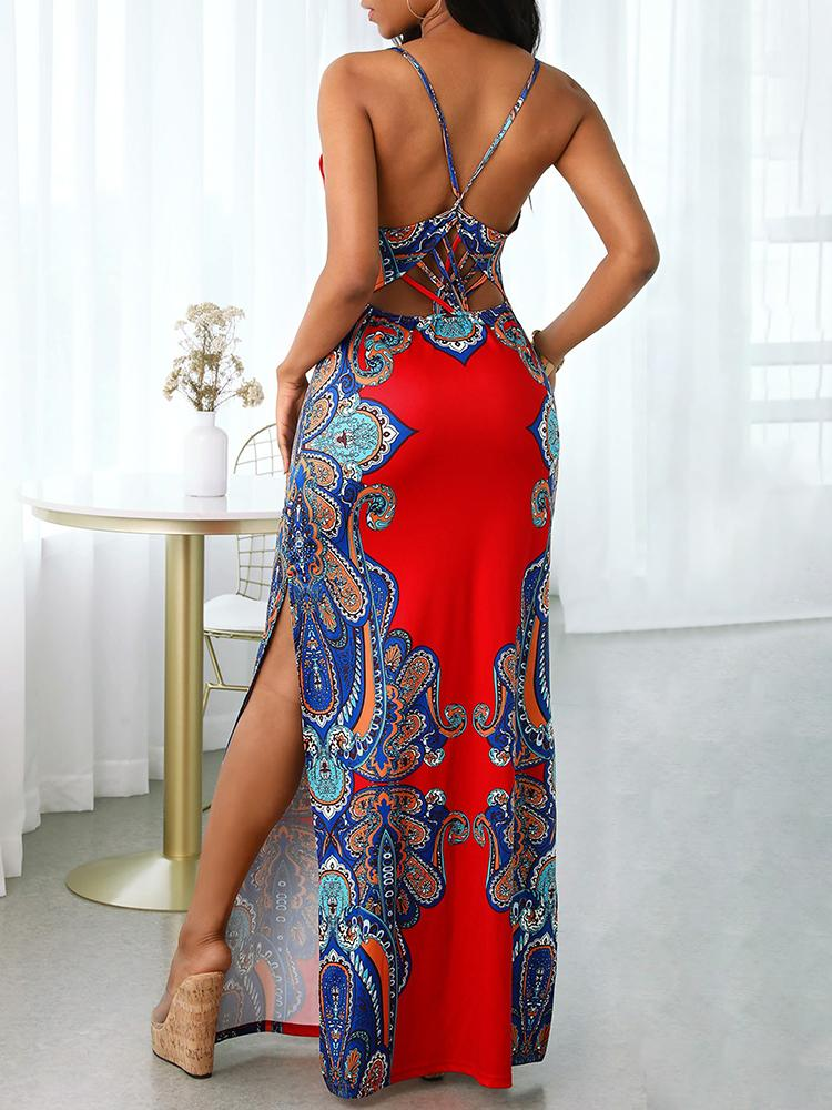 Retro Print Cutout Crisscross Backless Maxi Dress - Maxi Dresses - INS | Online Fashion Free Shipping Clothing, Dresses, Tops, Shoes - 27/04/2021 - Bodycon Dresses - Color_Dark Blue