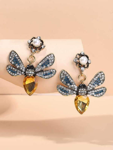 Rhinestone Butterfly Drop Earrings - INS | Online Fashion Free Shipping Clothing, Dresses, Tops, Shoes