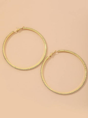 Rhinestone Decor Hoop Earrings - INS | Online Fashion Free Shipping Clothing, Dresses, Tops, Shoes