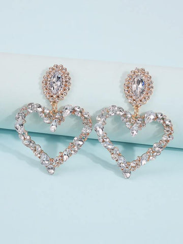 Rhinestone Heart Drop Earrings - INS | Online Fashion Free Shipping Clothing, Dresses, Tops, Shoes