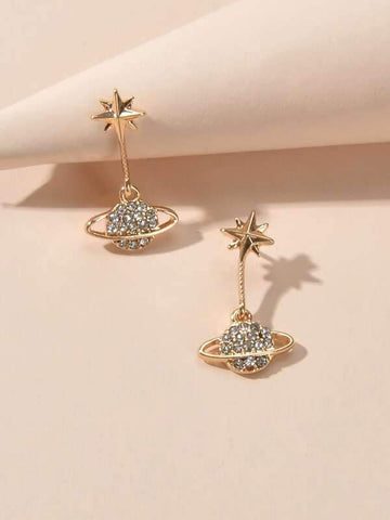 Rhinestone Planet Drop Earrings - INS | Online Fashion Free Shipping Clothing, Dresses, Tops, Shoes