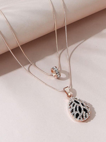 Rhinestone Waterdrop Charm Necklace - INS | Online Fashion Free Shipping Clothing, Dresses, Tops, Shoes