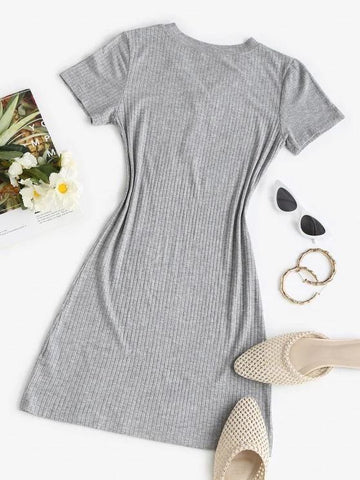 Rib-knit Buttoned Slinky Bodycon Dress - INS | Online Fashion Free Shipping Clothing, Dresses, Tops, Shoes